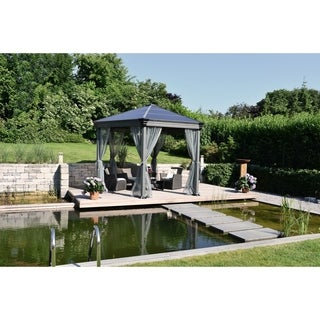 Palram Roma Grey Polyester Garden Gazebo Curtain Set