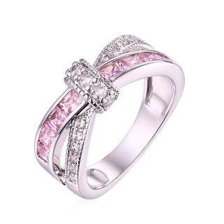 Rhodium Plated and Cubic Zirconia Crisscross Ring