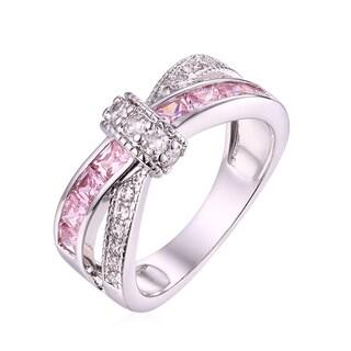 Silvertone Cubic Zirconia Crisscross Ring