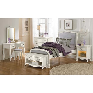 Kensington Katherine Antique White Twin Upholstered Panel Bed