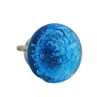 Shabby Restore Cobalt Blue Bubbles Glass Decorative Dresser Drawer Pulls (Pack of 6)