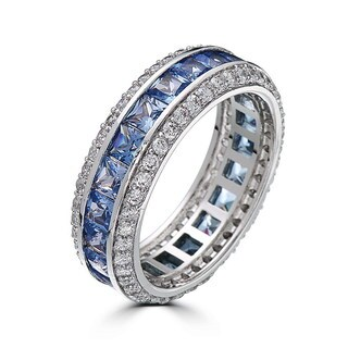 18k White Gold-plated Brass Sapphire Cubic Zirconia Ring