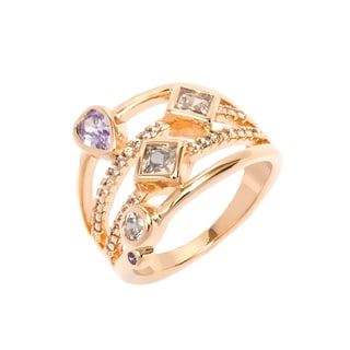 18K Goldplated White and Purple Cubic Zirconia Ring