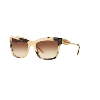 Burberry Women's BE4207 350113 Light Horn Plastic Square Sunglasses w/ 56mm Lens