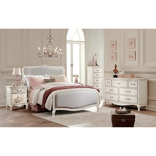 Kensington Katherin Antique White Full-size Upholstered Panel Bed