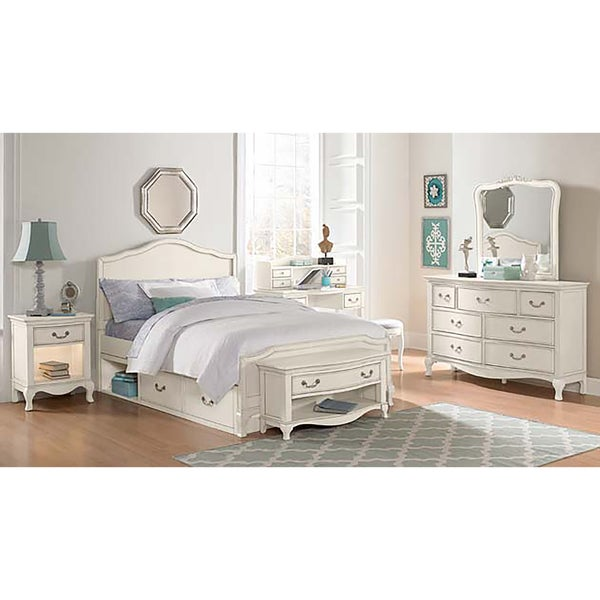 Kensington Charlotte Antique White Upholstered Full-size Storage Bed