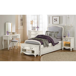Kensington Katherine Antique White (Upholstered Panel) Twin Bed
