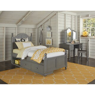 Lake House Payton Stone Grey Arched Twin-size Bed with Storage