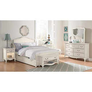 Kensington Charlotte Antique White Upholstered Full-size Trundle Bed