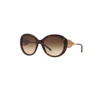 Burberry Women's BE4191 300213 Dark Havana Plastic Round Sunglasses w/ 57mm Lens