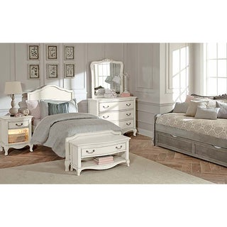Kensington Charlotte Antique White Upholstered Twin-size Bed