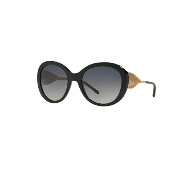 a80cb9848748 Burberry Women  x27 s BE4191 3001T3 Black Plastic Round Sunglasses w  ...