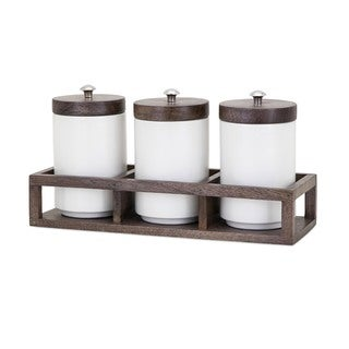 Christine Canisters in Wood Caddy (Set of 3)