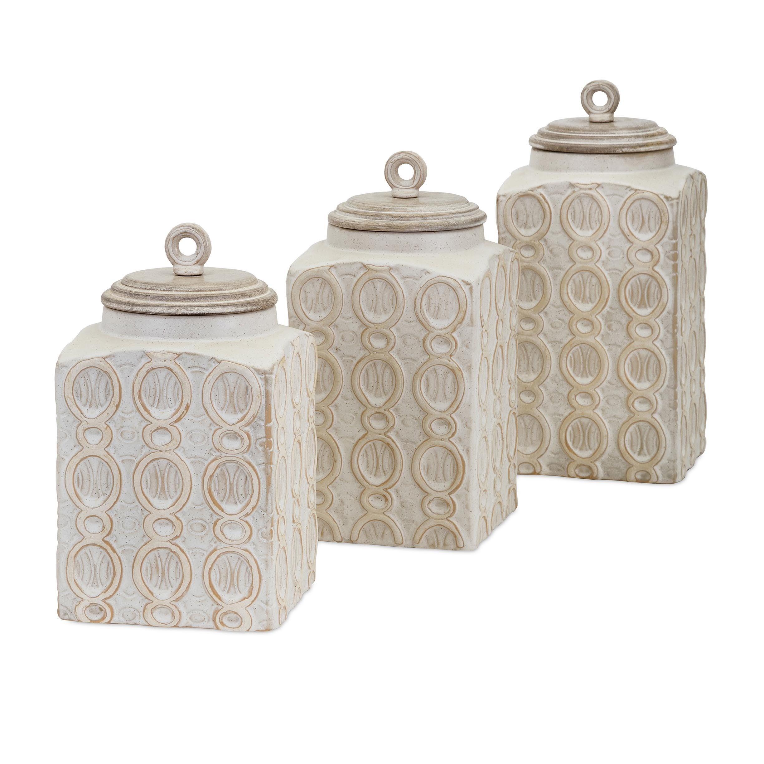Dreanna Canister Jar Kitchen Storage Set Ceramic Distressed Cream ...