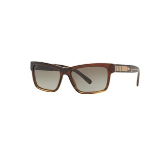 Burberry Men's BE4225 35988E Brown Gradient Striped Plastic Square Sunglasses w/ 57mm Lens