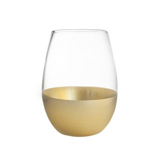 J'ane Clear/Gold Stemless Drinking Glasses (Set of 4)