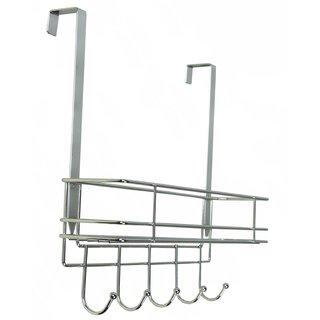 Over-door Chrome Metal Hook with Basket