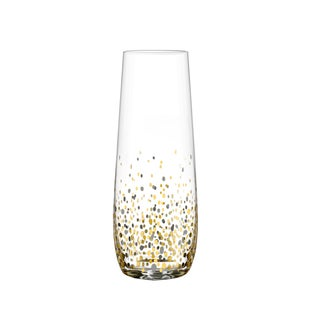 Fitz & Floyd Confetti Black and Gold Stemless Flute Glasses (Pack of 4)