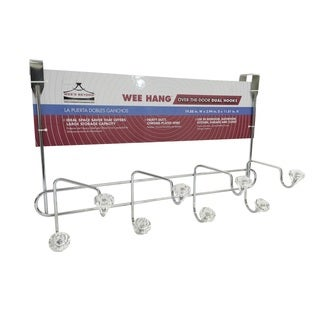Chrome-finish/Crystal-finish Over-door 6-hook Double Storage Rack