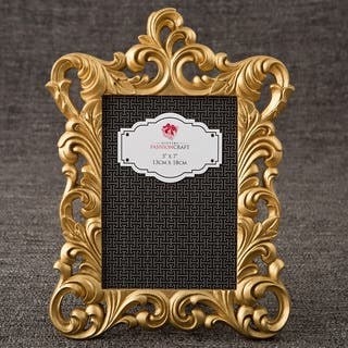 Gold Metallic Polyresin Baroque-style Vintage Frame for Standard 5-inches x 7-inches Vertical Photo|https://ak1.ostkcdn.com/images/products/12554692/P19355466.jpg?impolicy=medium