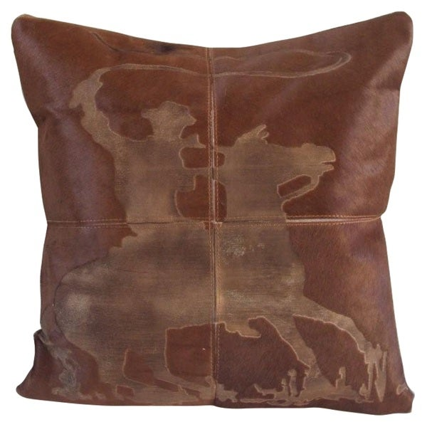 Mina Victory Dallas Lasso Cowboy Laser Cut Tan Throw Pillow (20-inch x 20-inch) by Nourison