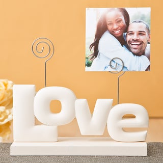 Rose White Polyresin and MDF Love Photo Holder