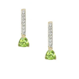 One-of-a-kind Michael Valitutti 14k Peridot and Diamond Stud Earrings