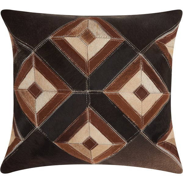 Mina Victory Dallas Four Eyed Diamonds Brown Throw Pillow by Nourison (20-Inch X 20-Inch)