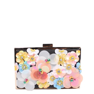 Nicole Lee Star Black Faux Leather Floral Hard-frame Clutch