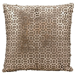 Mina Victory Natural Hide Bias Laser Cut Gold/ BeigeThrow Pillow by Nourison (18-Inch X 18-Inch)