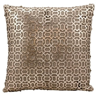 Mina Victory Natural Hide Bias Laser Cut Gold/ Beige 18 x 18-inch Throw Pillow by Nourison