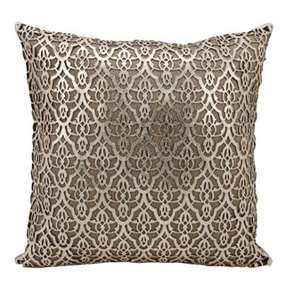 Mina Victory Natural Hide Moorish Leaves Gold/ BeigeThrow Pillow by Nourison (18-Inch X 18-Inch)