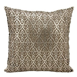 Mina Victory Natural Hide Moorish Leaves Gold/ Beige 18 x 18-inch Throw Pillow by Nourison
