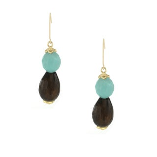 One-of-a-kind Michael Valitutti 14k Smokey Quartz and Amazonite Dangling Earrings