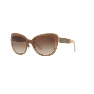 Burberry Women's BE3088 114513 Light Gold Plastic Cat Eye Sunglasses w/ 57mm Lens