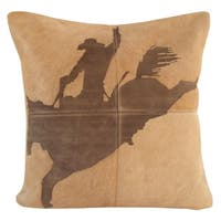 Mina Victory Dallas Rodeo Cowboy Beige Throw Pillow (20-inch x 20-inch) by Nourison