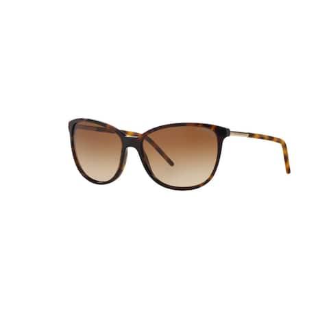 Burberry Women's BE4180 300213 Dark Havana Plastic Cat Eye Sunglasses w/ 57mm Lens