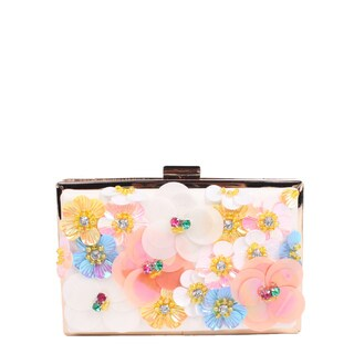 Nicole Lee Star White Floral Hard Frame Clutch