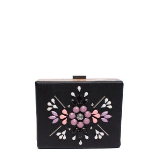 Nicole Lee Star Pastel Black Hard-frame Clutch
