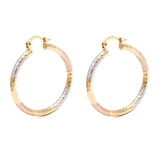 Gold-plated Triple-Tone 35mm Diamond-Cut Hoop Earrings