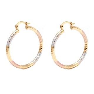 Gold-plated Triple-Tone 35mm Diamond-Cut Hoop Earrings
