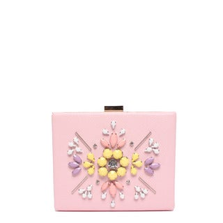 Nicole Lee Star Pink Pastel Faux-leather/Nylon Hard Frame Clutch