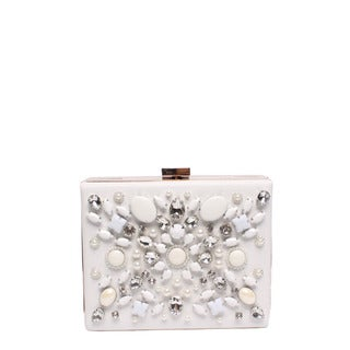 Nicole Lee White Nylon and Faux Leather Star-embellished Hard-framed Clutch