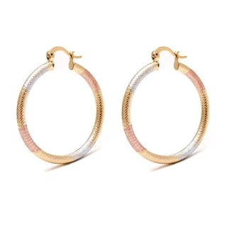18k Goldplated Gold, Rose Gold, and Silver 35-millimeter Textured Hoop Earrings