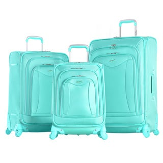 Olympia Luxe Green Polyester 3-piece Expandable Spinner Luggage Set