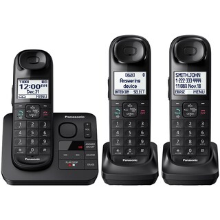 Panasonic KX-TGL433B Expandable Cordless (3) Phone Answering System + Comfort Shoulder Grip