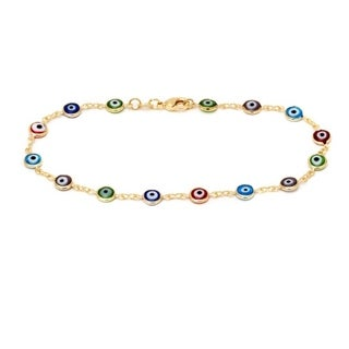 Goldplated Multi-color Crystal Evil Eye Anklet Bracelet - Gold