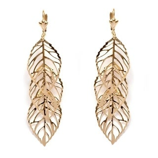 Peermont Jewelry Women's Gold-plated Brass Triple-leaf Drop Earrings