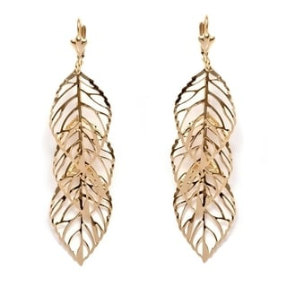 Peermont Jewelry Women's 18k Gold-plated Brass Triple-leaf Drop Earrings