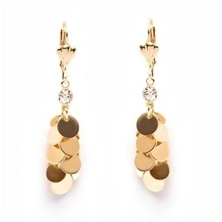 18K Goldplated Round-cut Crystal Swarovski Elements Dangling Earrings